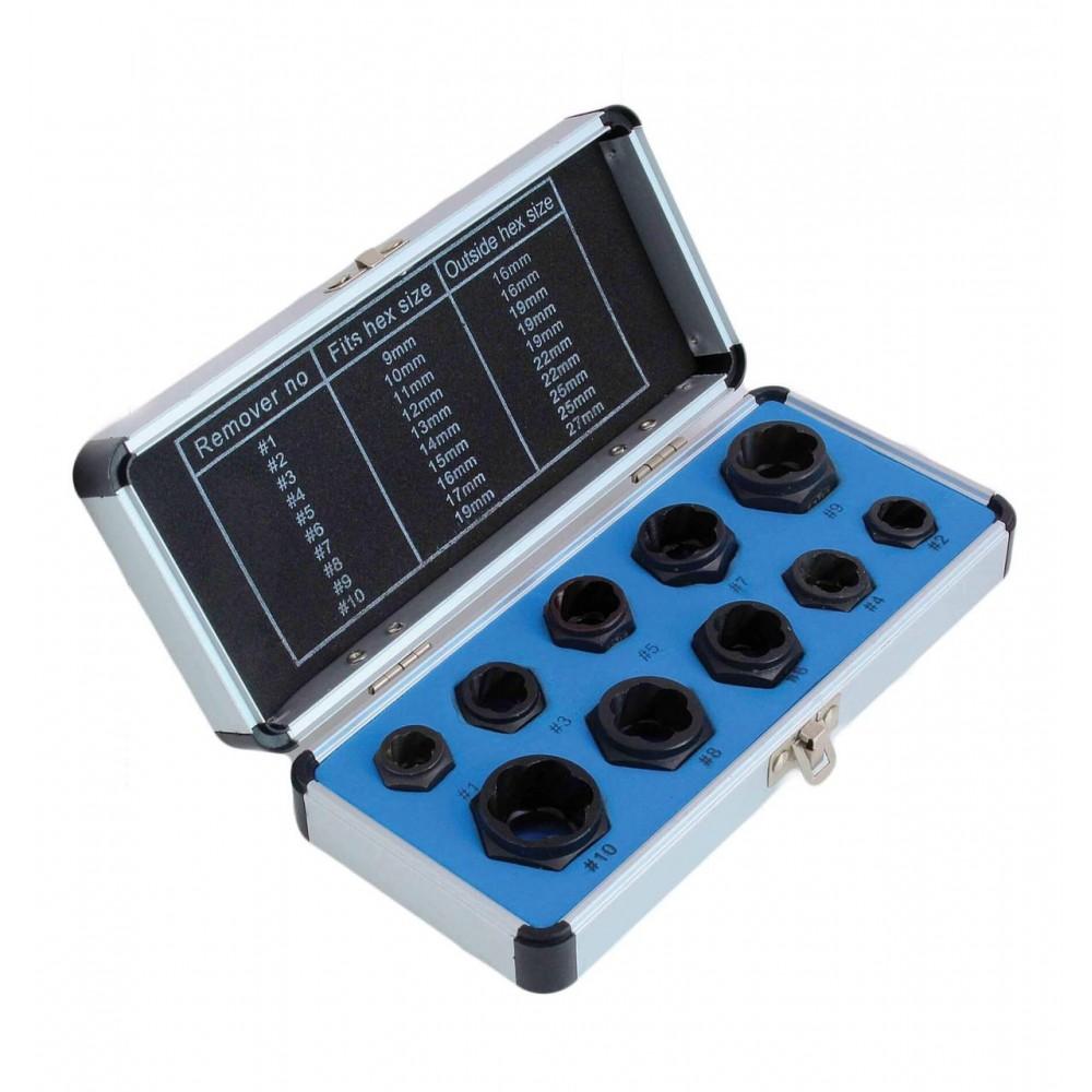 Набор низкопрофильных насадок для сорванных гаек 10 шт. SATRA S-TS10SH